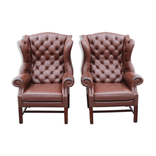Pair Brown Leather Highback Wingback Armchairs Leather Brown Good Condition Vintage 7xcdxfkw