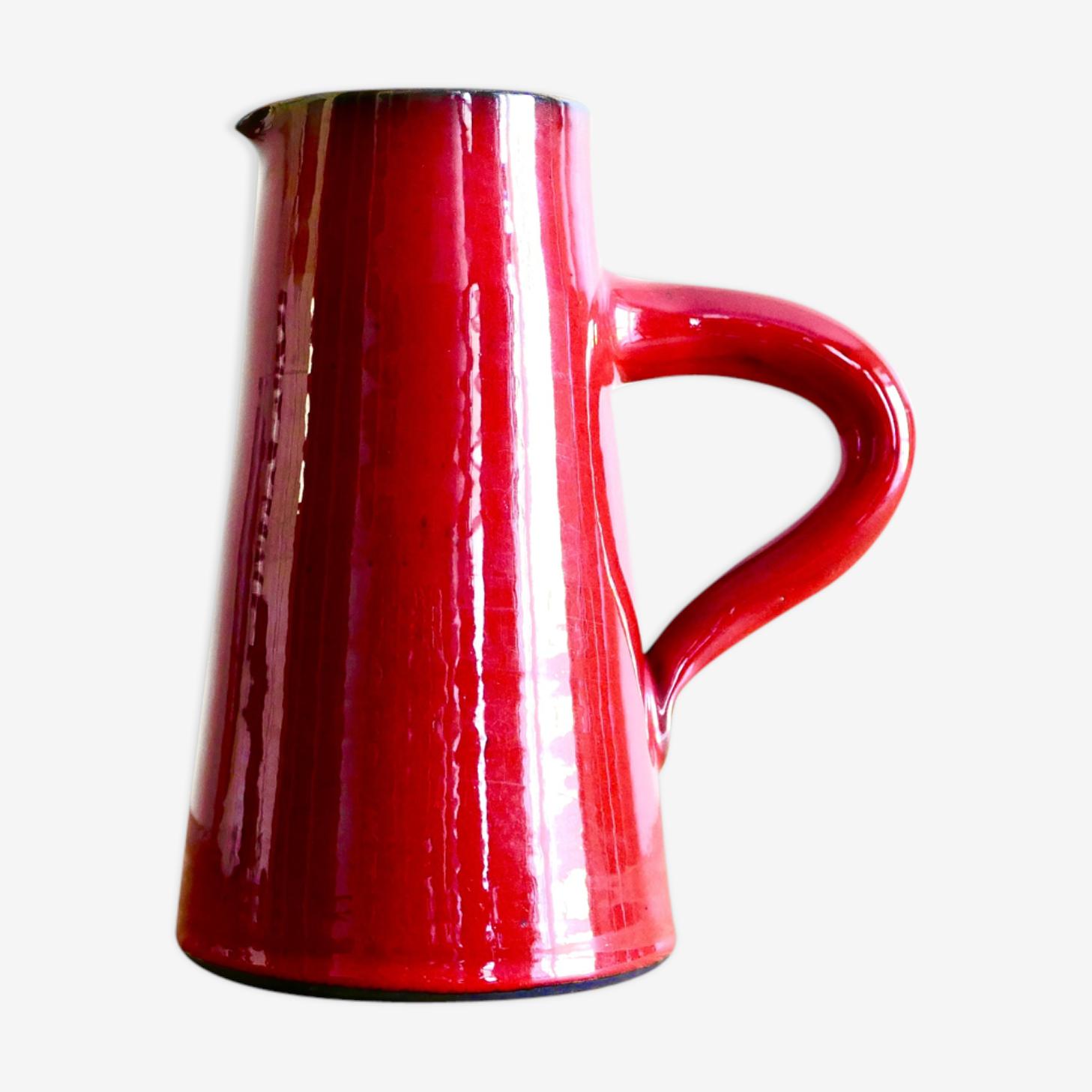 Pichet en céramique rouge de Gérard Hofmann Vallauris années 50