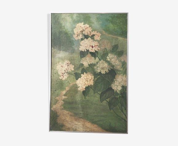 Toile à l'huile fleurs encadrée 66 x 101 cm