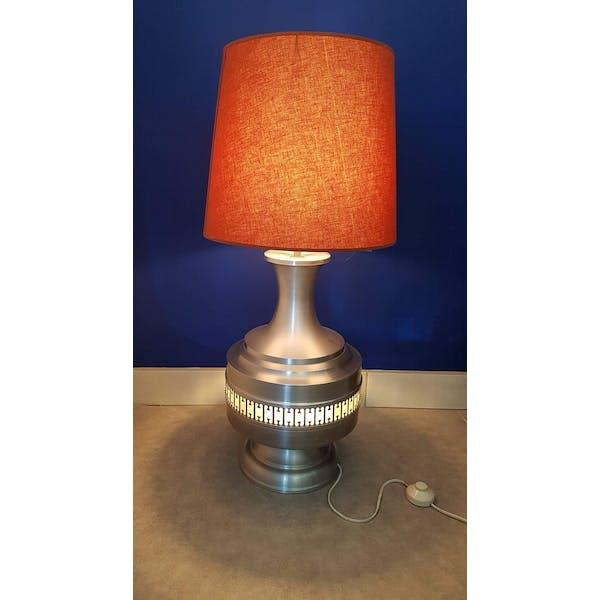 Lampe vintage en aluminium brossé double éclairage abat jour+pied   Selency