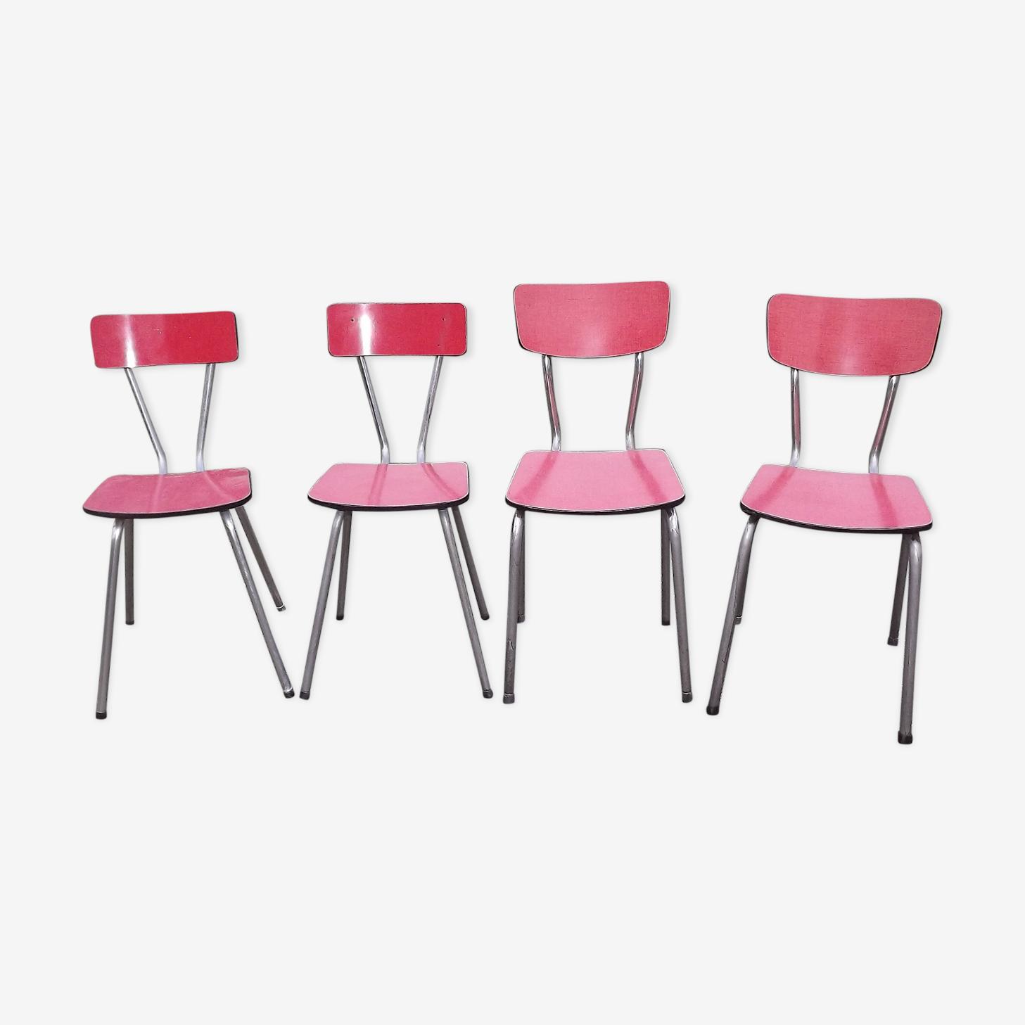 Lot de 4 chaises en formica années 50