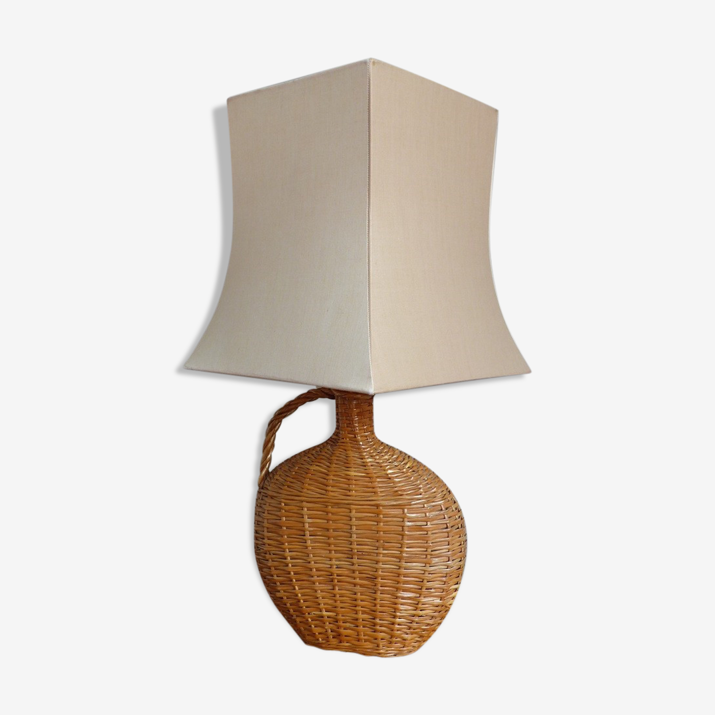 Lampe De Table En Osier Tresse Rotin Et Osier Marron Vintage