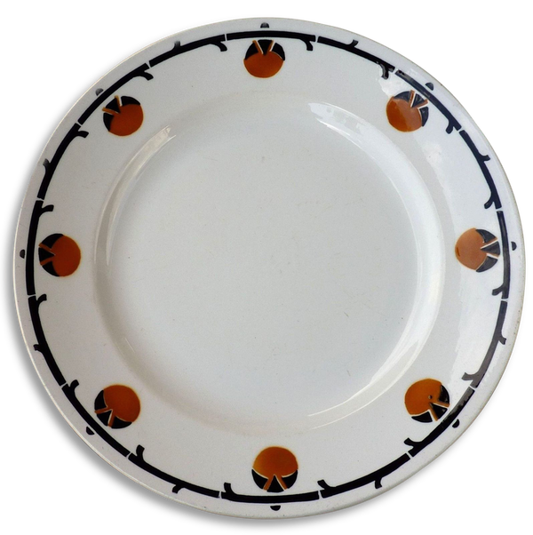 BADONVILLER France Grand plat rond vintage de 1905 estampillé, dessins géométriques style art déco bleu ocre et blanc