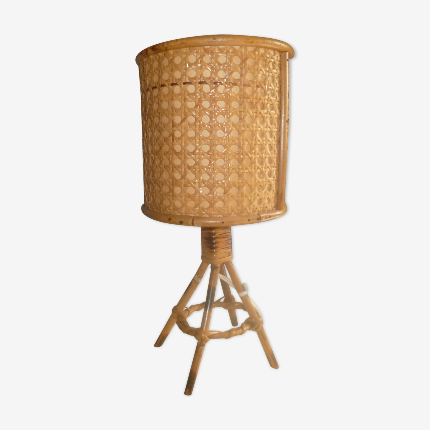 Wicker rattan bedside lamp 1960
