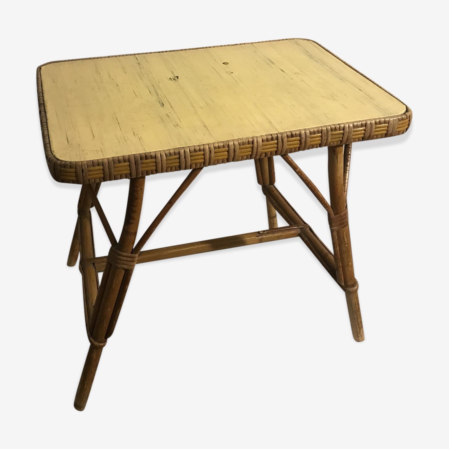 Table basse en rotin tressé vintage année 60