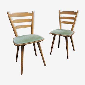 Paire de chaises scandinave vertes 60's