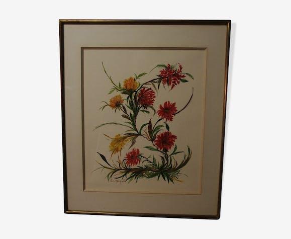 Aquarelle de fleurs signée G.I Margulis