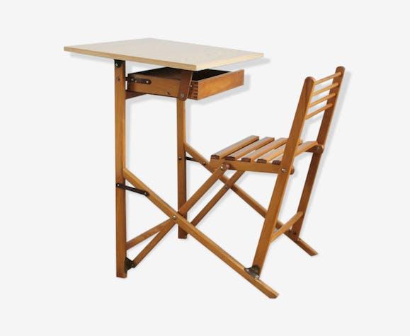 Bureau pour enfant pliant vintage en bois et formica bois