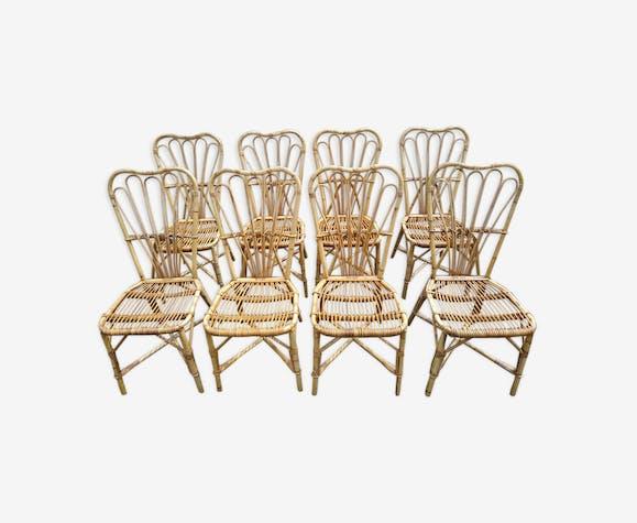 Suite de 8 chaises vintage en rotin Audoux et Minet 1950