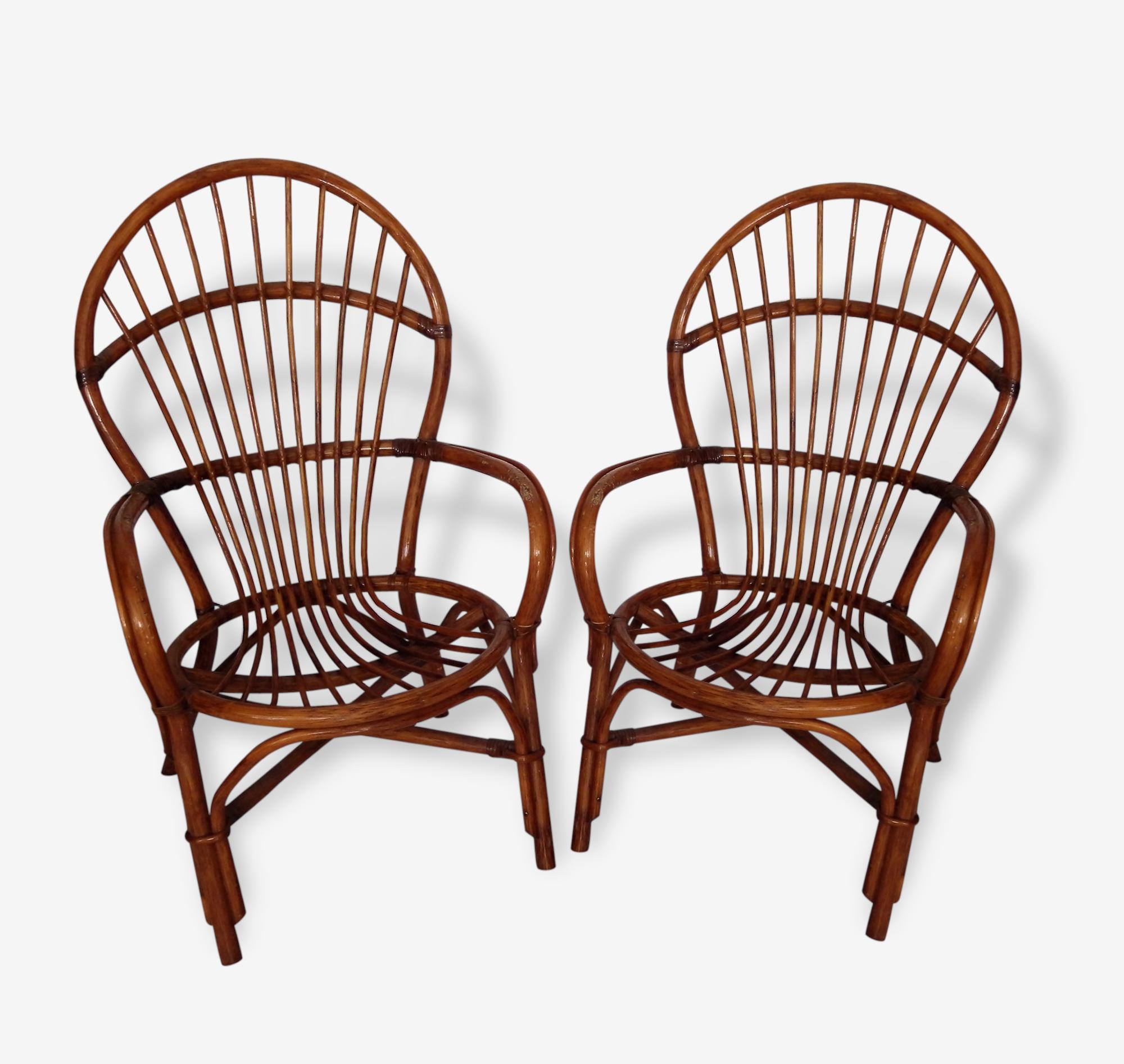 Paire de fauteuils vintage en rotin à restaurer