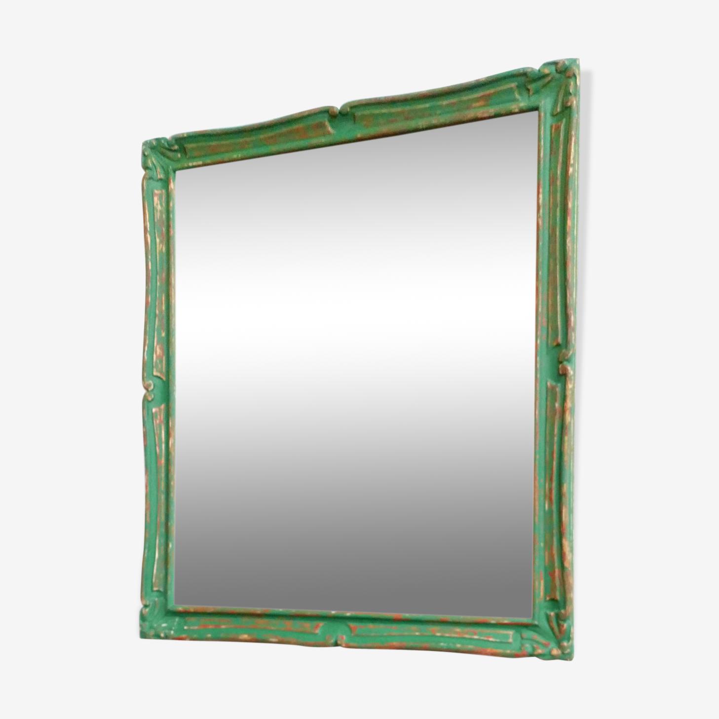 Miroir vintage patiné vert et doré 69x79cm