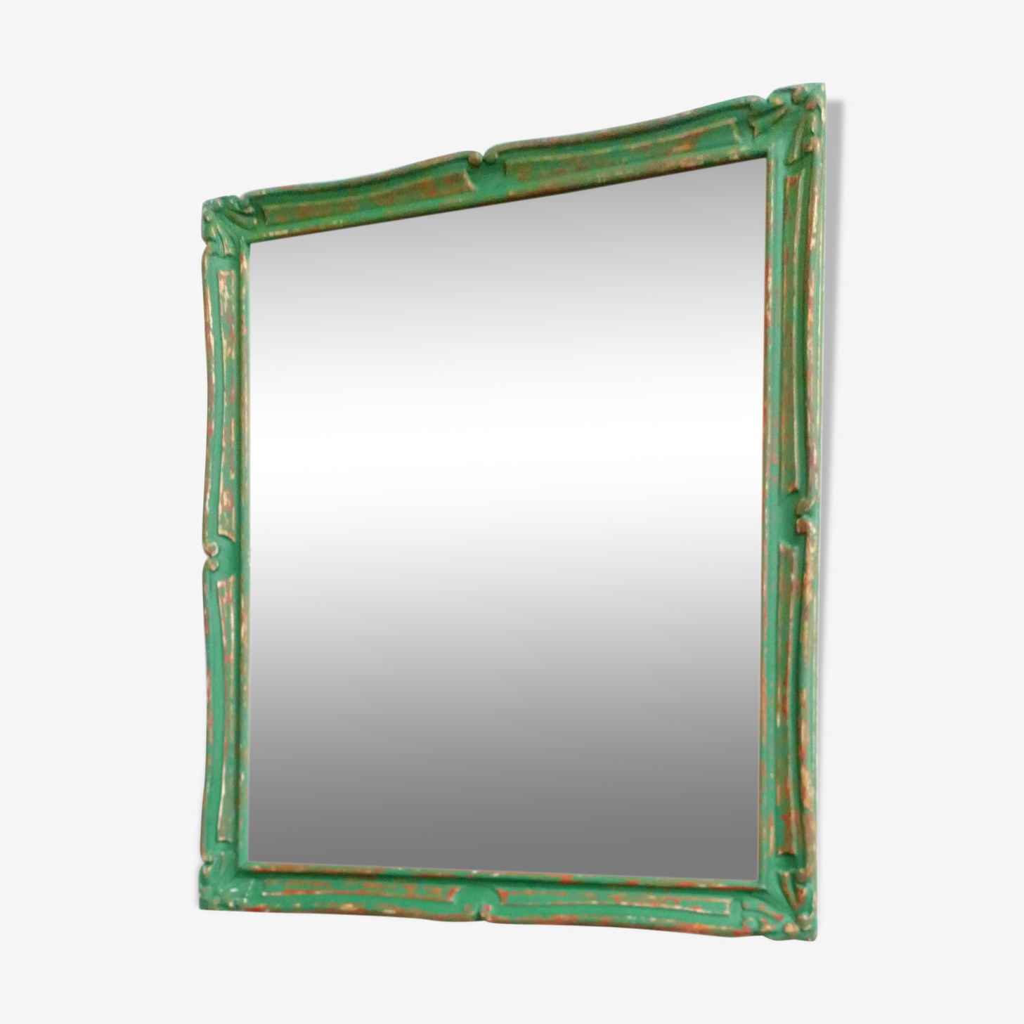 Vintage patina green and gold mirror 69x79cm