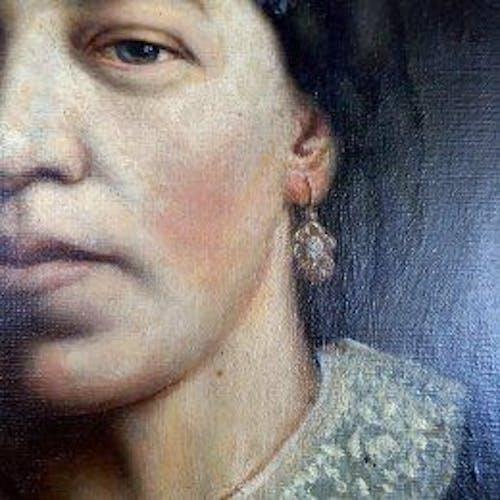Tableau portrait femme à la broche