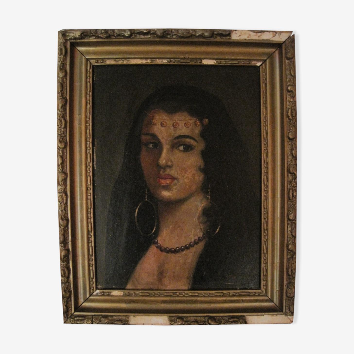 Portrait jeune femme orientale peinture huile signé XlXe
