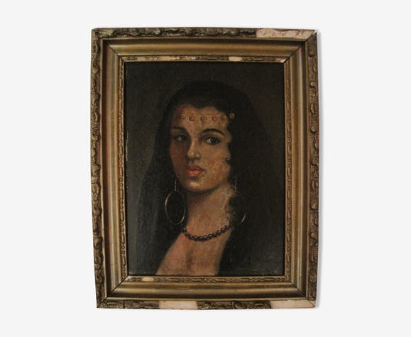 Portrait of a young oriental woman in oil painting signed XlXe