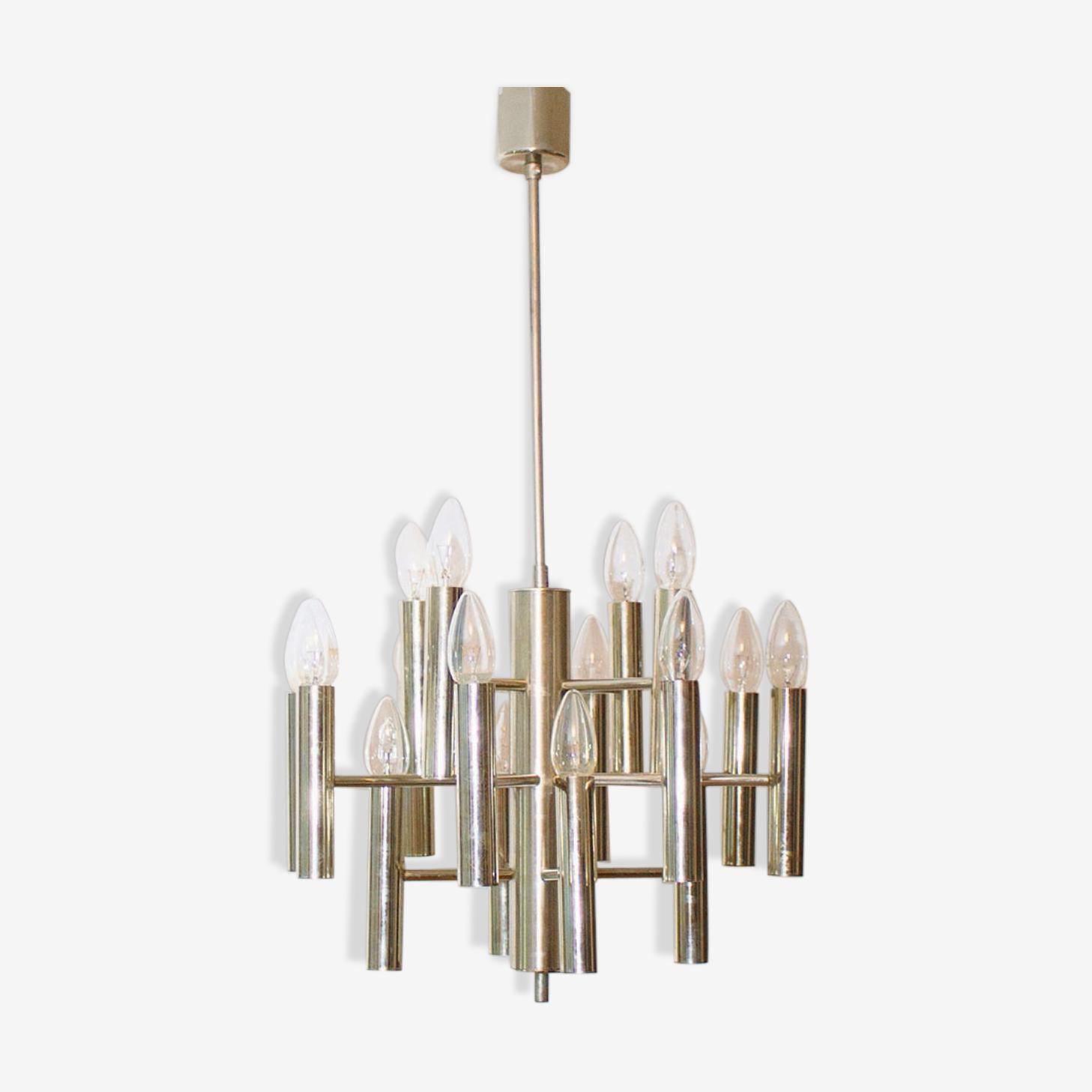 Sixteen-light countdown chrome candlestick (Sputnik), 1960, Italy