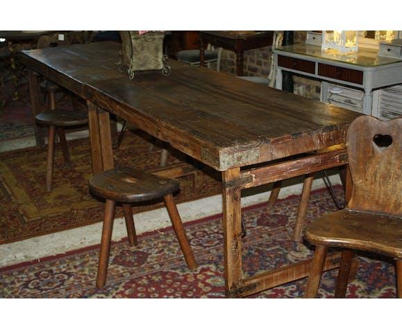 Table Style Atelier Pliante En Bois Et Fer Selency