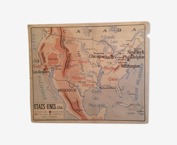 Old school map of the years 50/60 USA/URSS - paper - beige - vintage ...