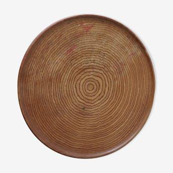 Assiette plate circulaire en bois des années 1950 en hêtre rose