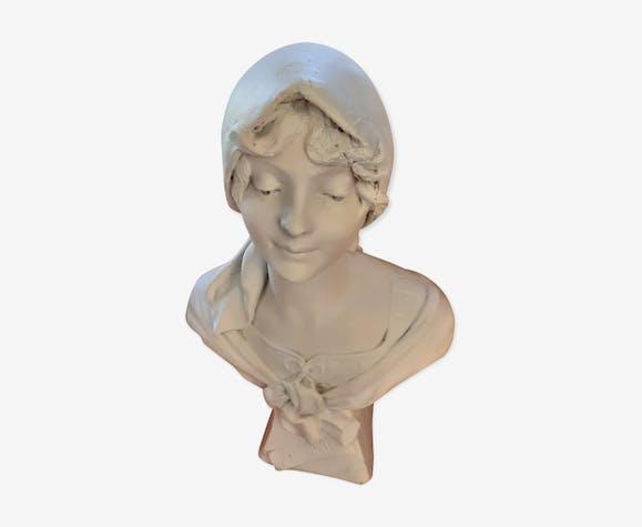 Buste ancien platre blanc femme