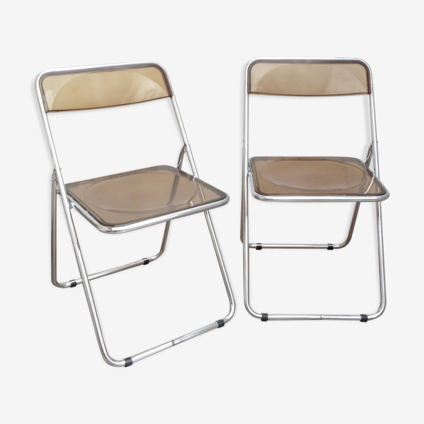 2 chairs folding plexiglass smoked