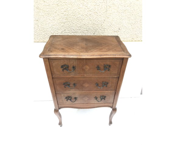 Former commodus style louis xv wood 3 drawers - vintage curved feet