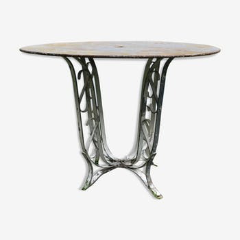 Sheet metal and iron garden table