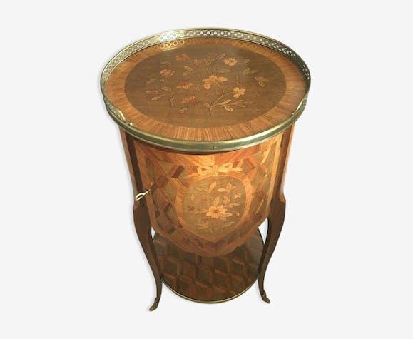 Chevet tambour de style Louis XV Table d'appoint en marqueterie