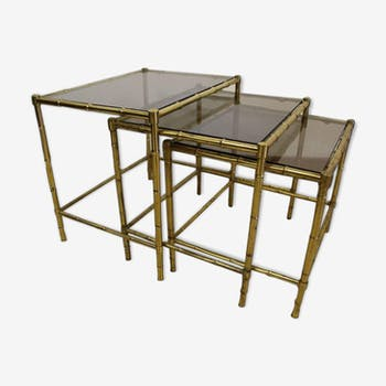 Série de tables gigognes en bronze imitation de bambou