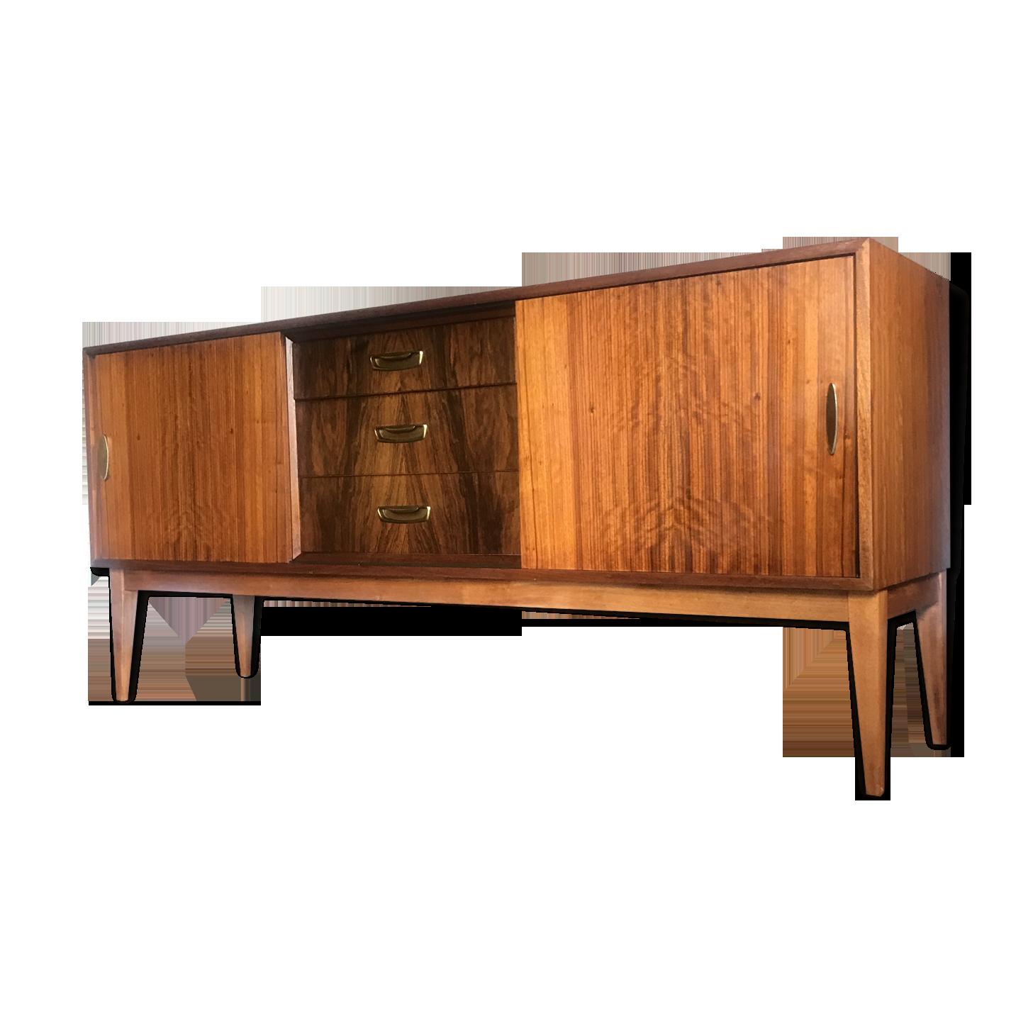 Danish Credenza Walnut : Credenza mid century modern sideboard buffet with glass display