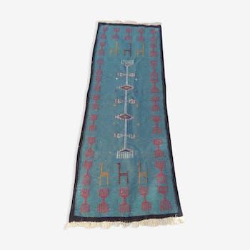 Tapis kilim bleu en laine tapis kilim 62x162cm