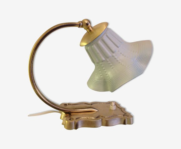 Bedside lamp in brass and painted glass shade / vintage 50-60 years