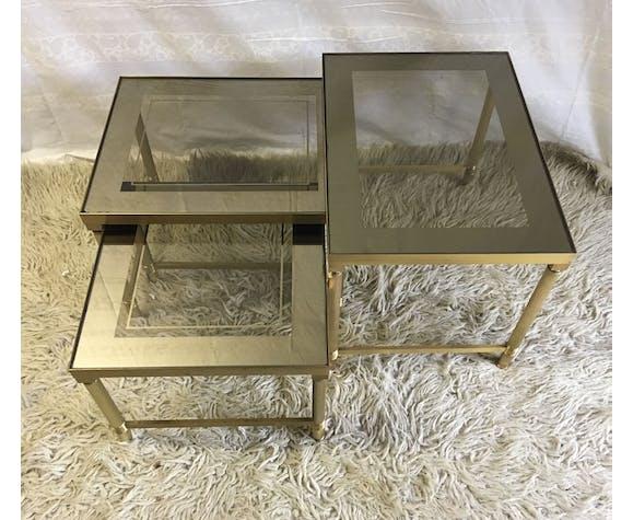 Tables basses gigogne laiton et verre – années 70