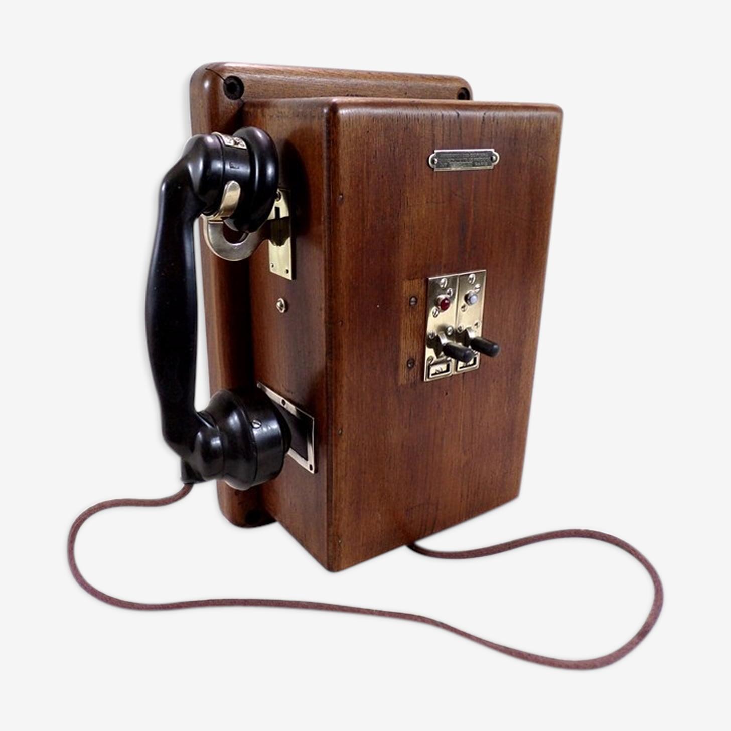 Téléphone ancien standard téléphonique en bois laiton et métal déco vintage
