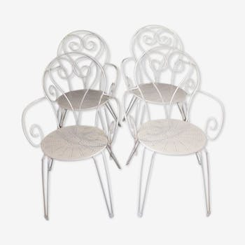 Lot of 4 white wrought iron armchairs