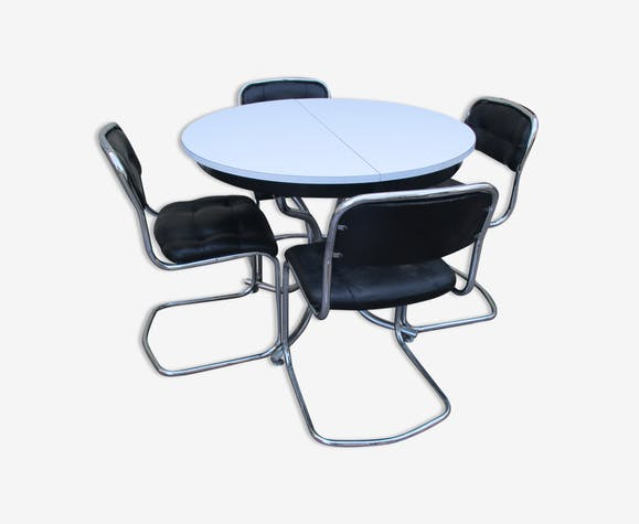 table et chaises vintage annee 70 80 formica cuisine salle. Black Bedroom Furniture Sets. Home Design Ideas