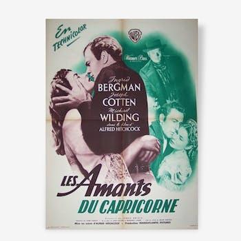 Affiche cinéma ancienne originale vintage 1949 alfred hitchcock les amants du capricorne ingrid bergman