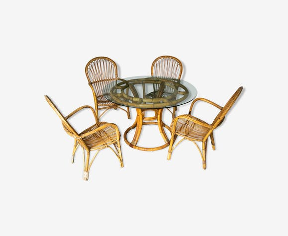 Rattan table and armchairs, 70s