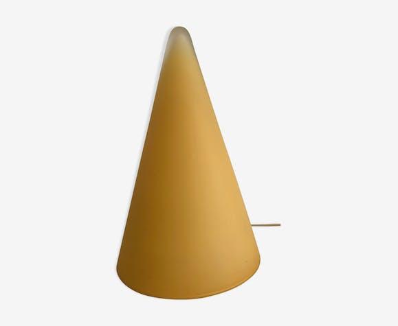 Lampe en verre cône jaune SCE France 1980