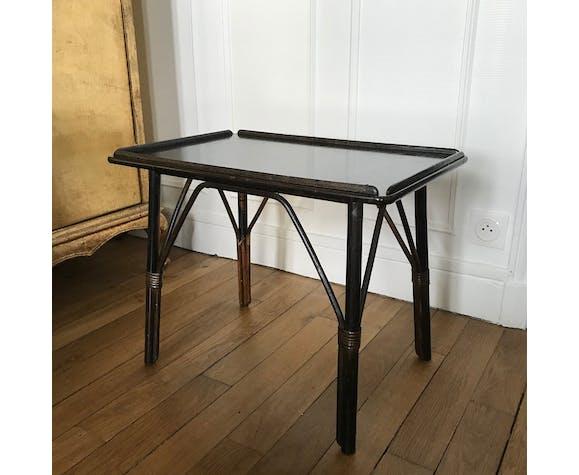 Table basse rotin noir