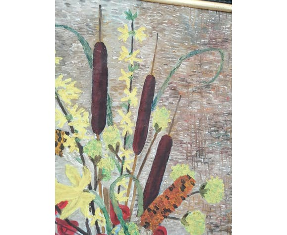 """""""Bouquet with rushes"""" oil on canvas signed and framed"""