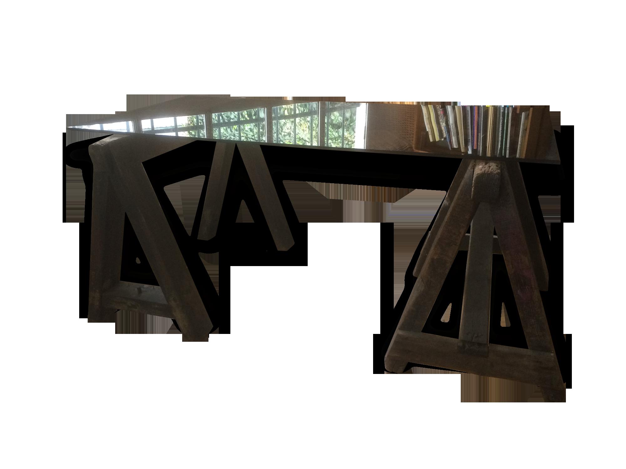 Bureau industriel avec tréteaux ancien de métier bois matériau