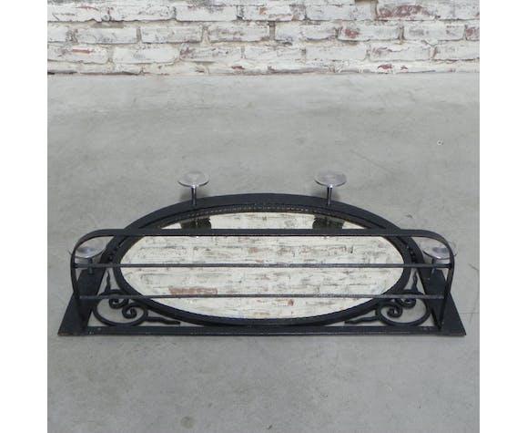 Steel Art Deco coat rack with mirror
