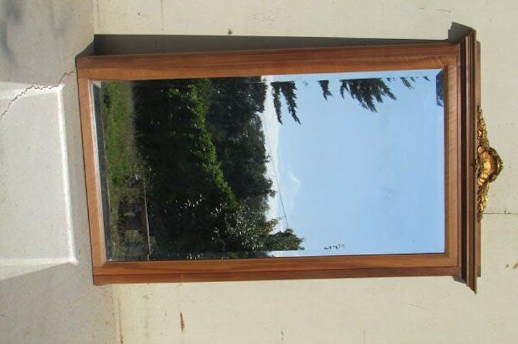 Miroir biseauté de cheminée, en noyer art déco, 1920 - 143x92cm
