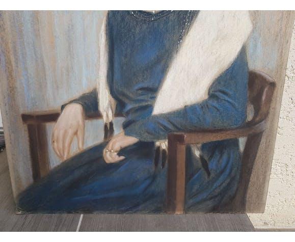 Portrait de femme art déco au pastel