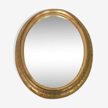 Miroir ovale ancien doré début 20ème 38x50cm