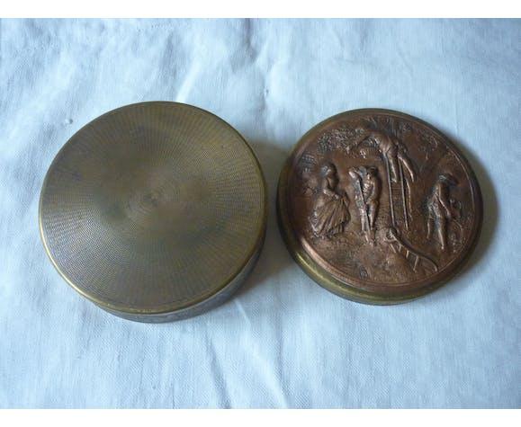 Boite a bijoux en laiton et cuivre