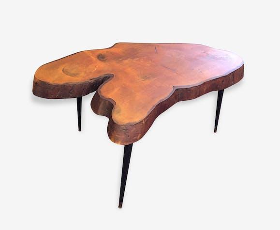 Table Basse D Appoint Tripode France 1960 Plateau En Tronc De Sequoia