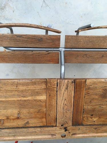 Pupitre d'écolier double bois et métal années 1950