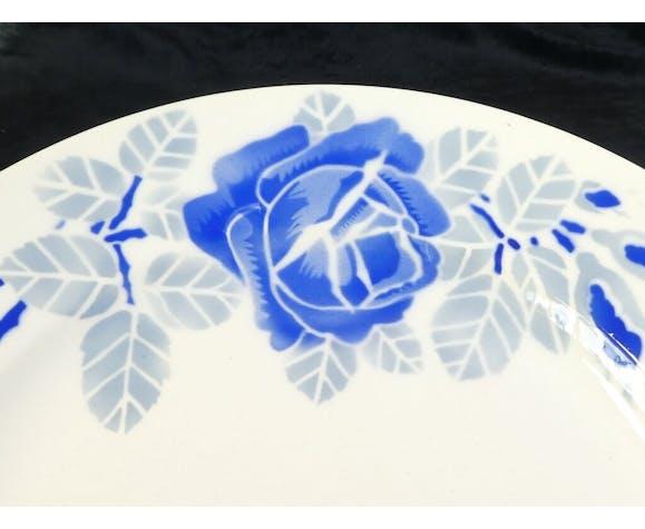 Plat rond  en faience de Badonviller modele rose bleu